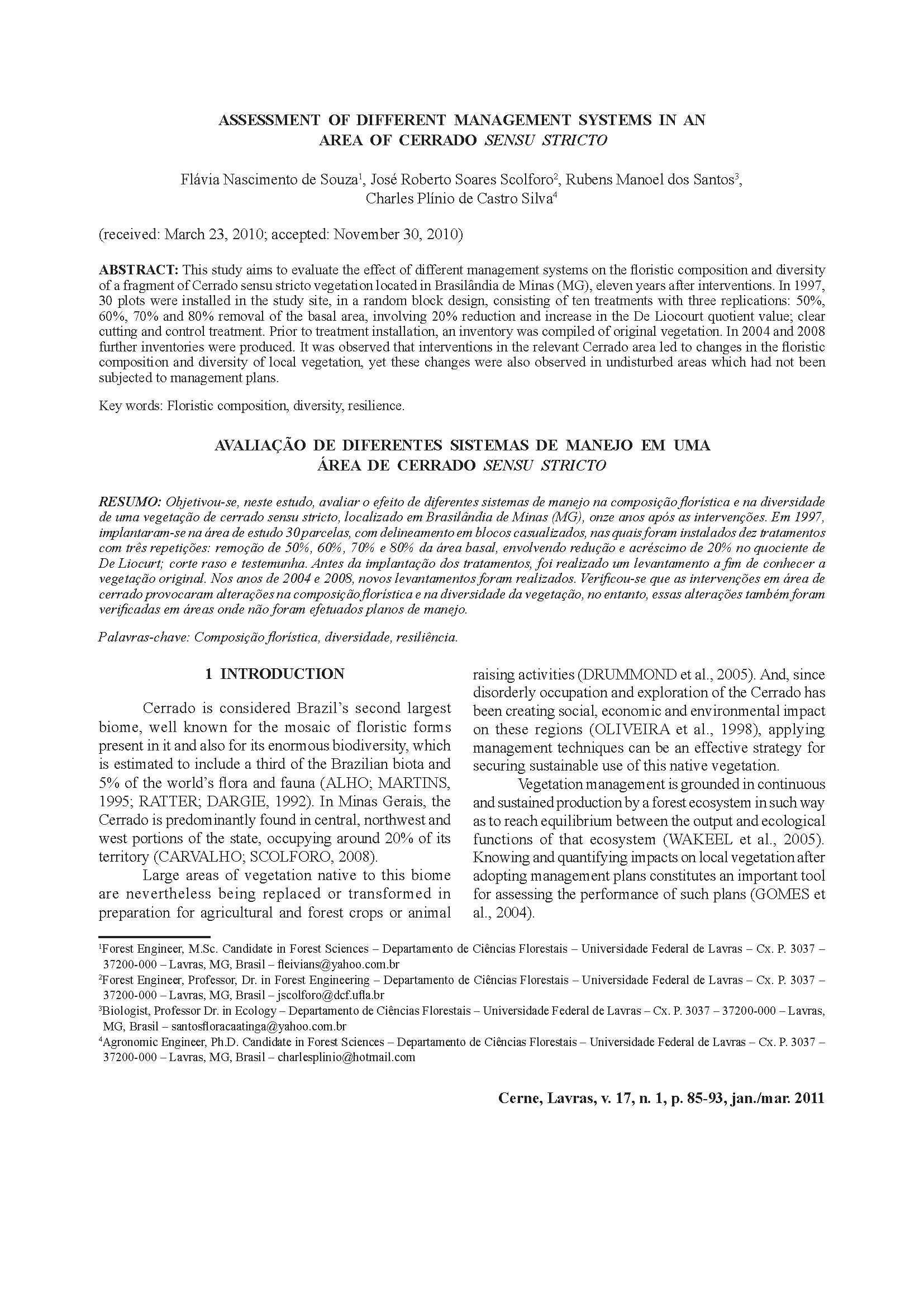 Capa da Assessment of different management systems in an area of Cerrado sensu stricto