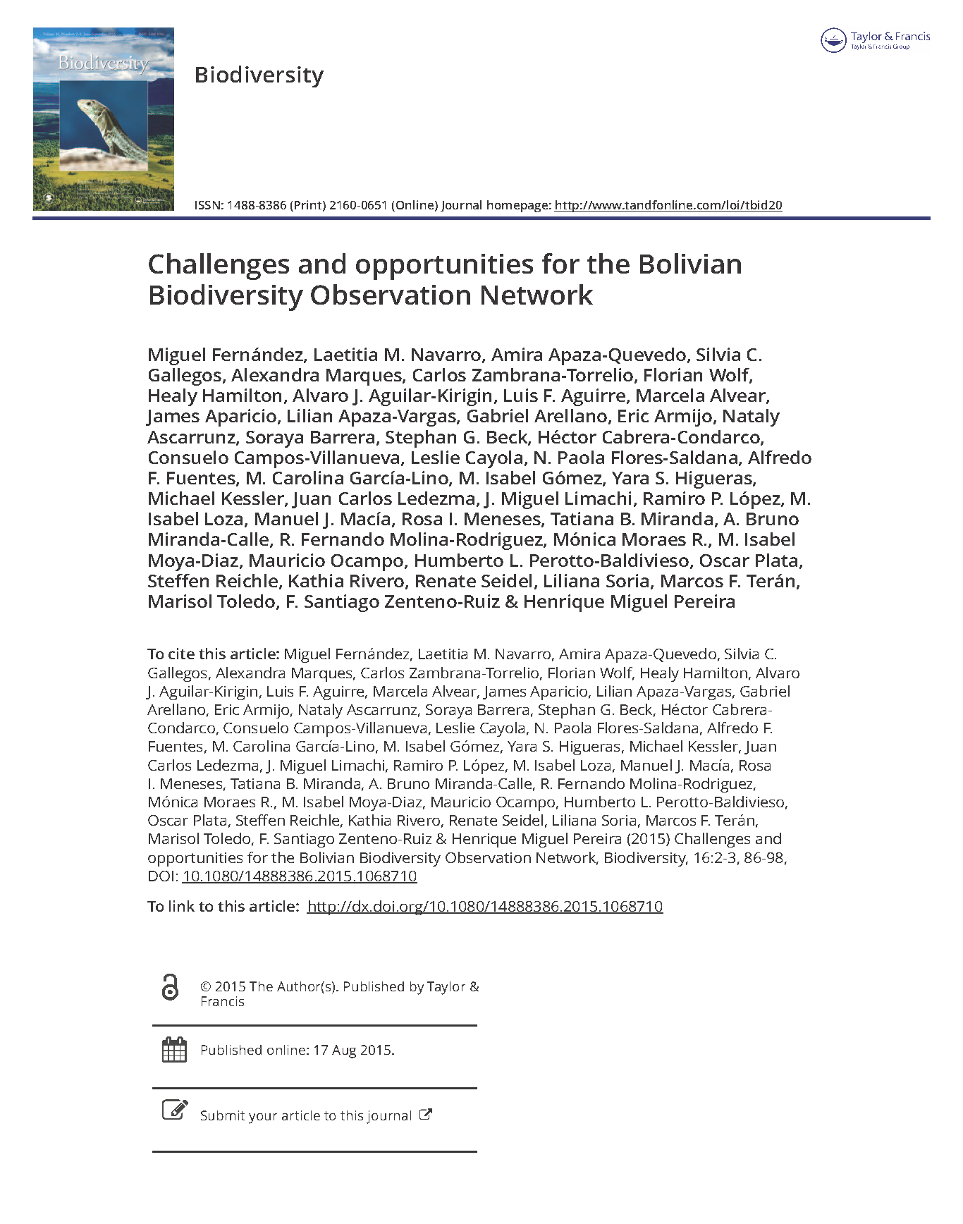 Capa da Challenges and opportunities for the Bolivian Biodiversity Observation Network