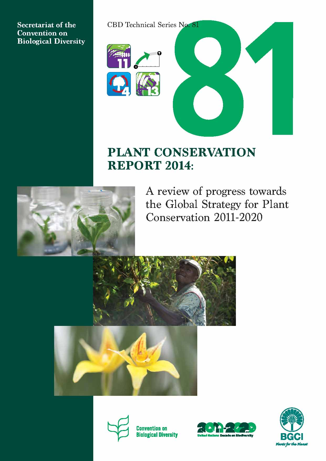 Capa da Plant Conservation Report 2014: A review of progress in implementation of the Global Strategy for Plant Conservation 2011-2020