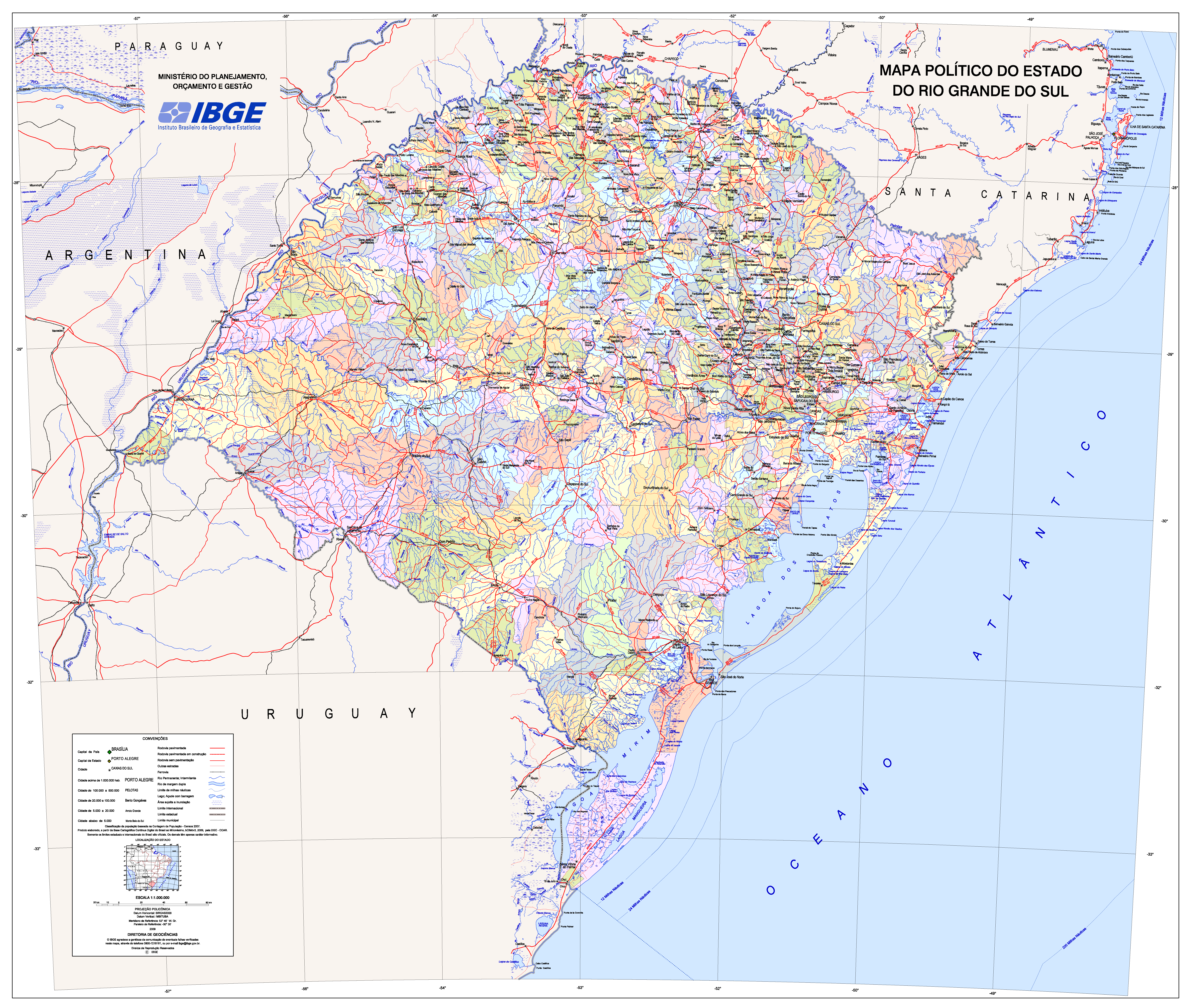 Rio Grande Mapa Fisico.Mapas E Cartografia Mapa Politico Do Estado Do Rio Grande
