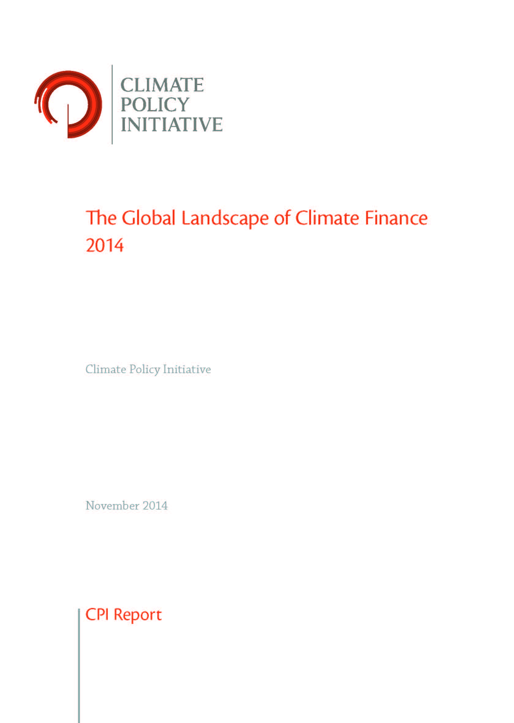 Capa da The global landscape of climate finance 2014