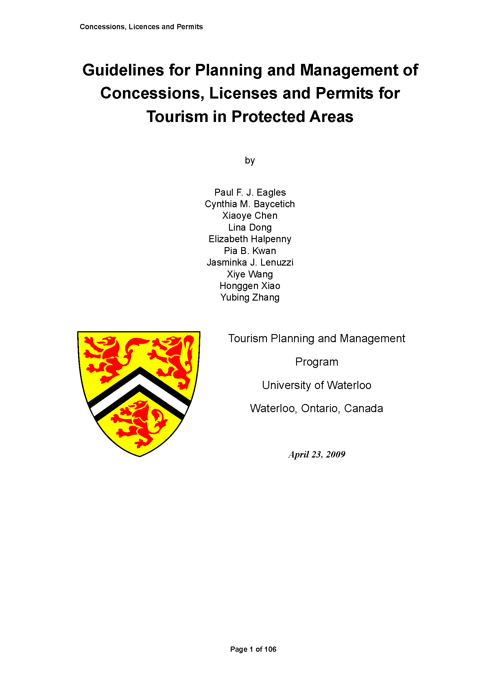 Capa da Guidelines for planning and management of concessions, licenses and permits for tourism in protected areas