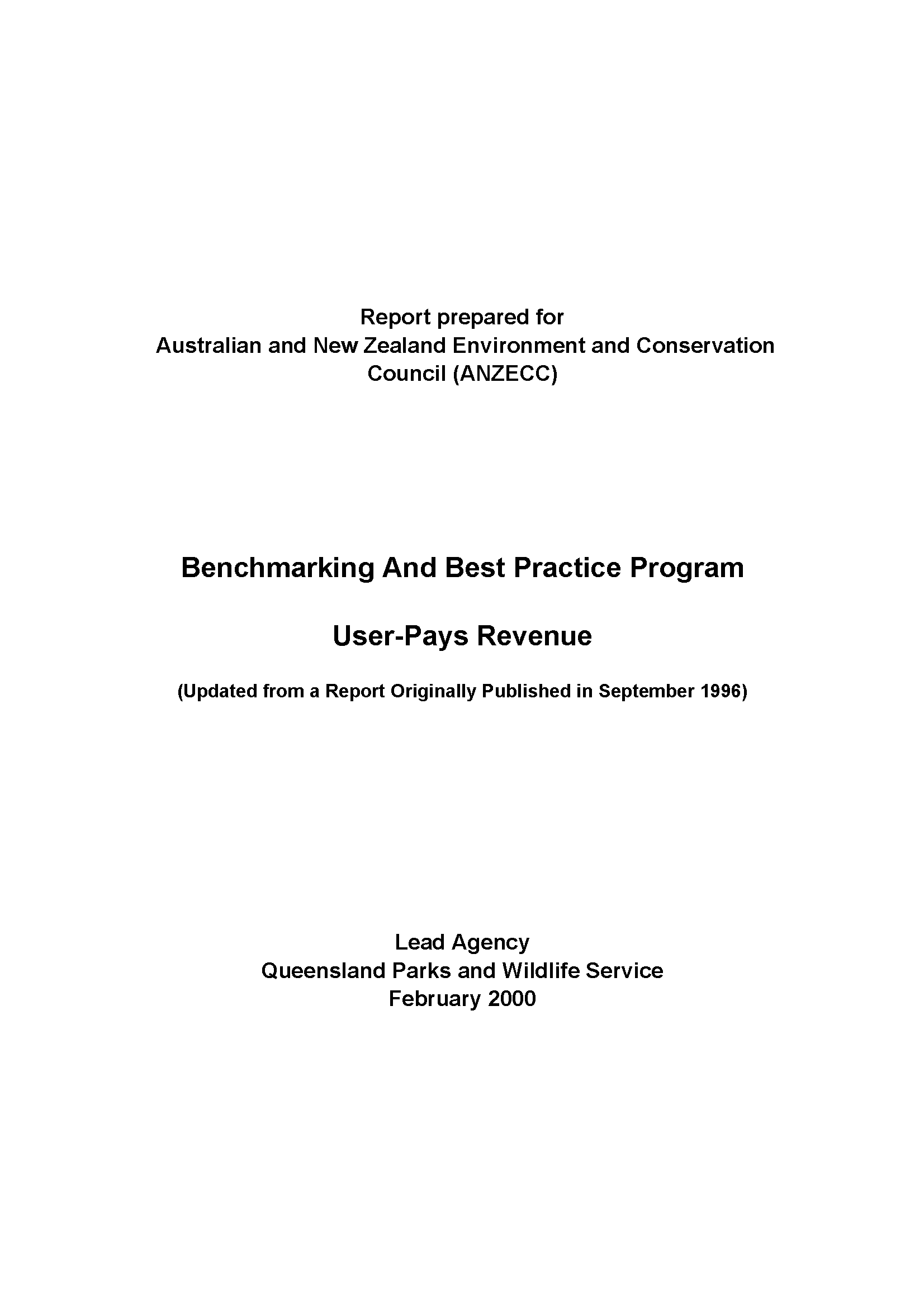 Capa da Benchmarking and Best Practice Program
