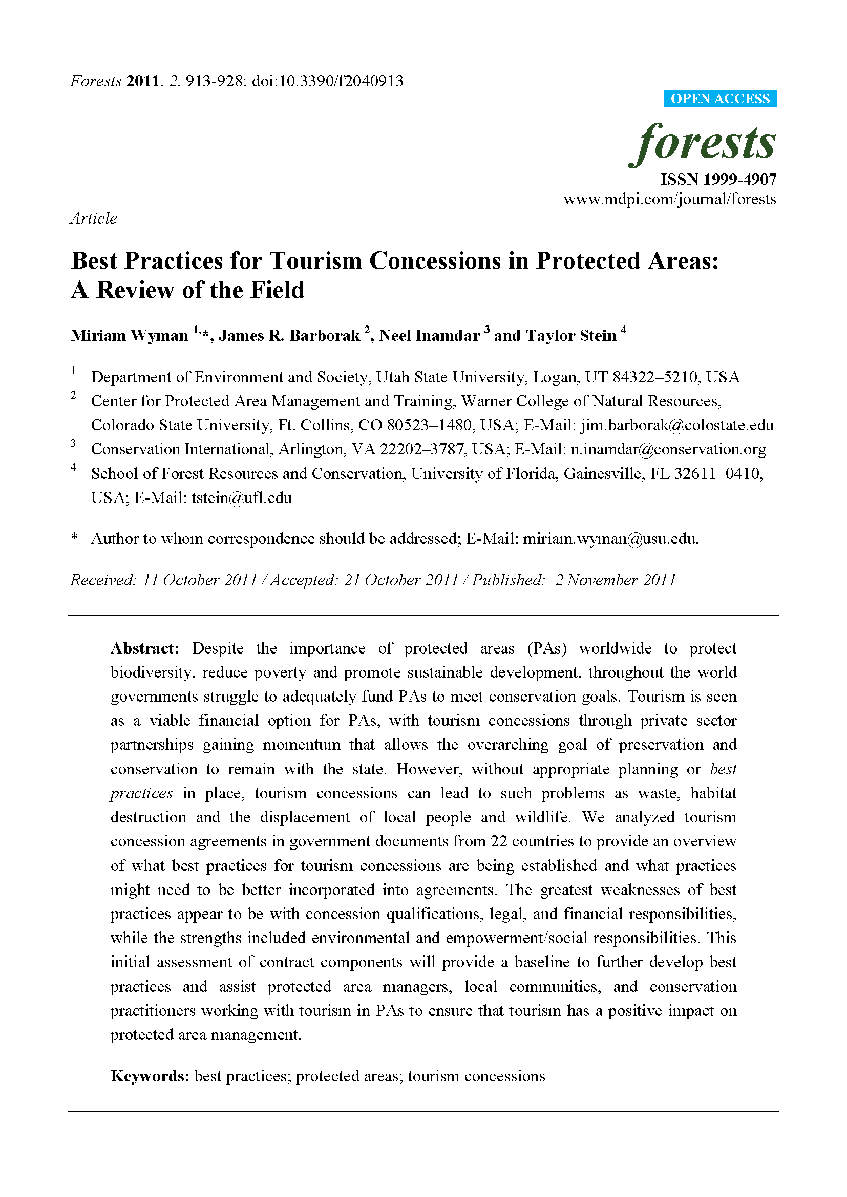 Capa da Best practices for tourism concessions in protected areas: a review of the field