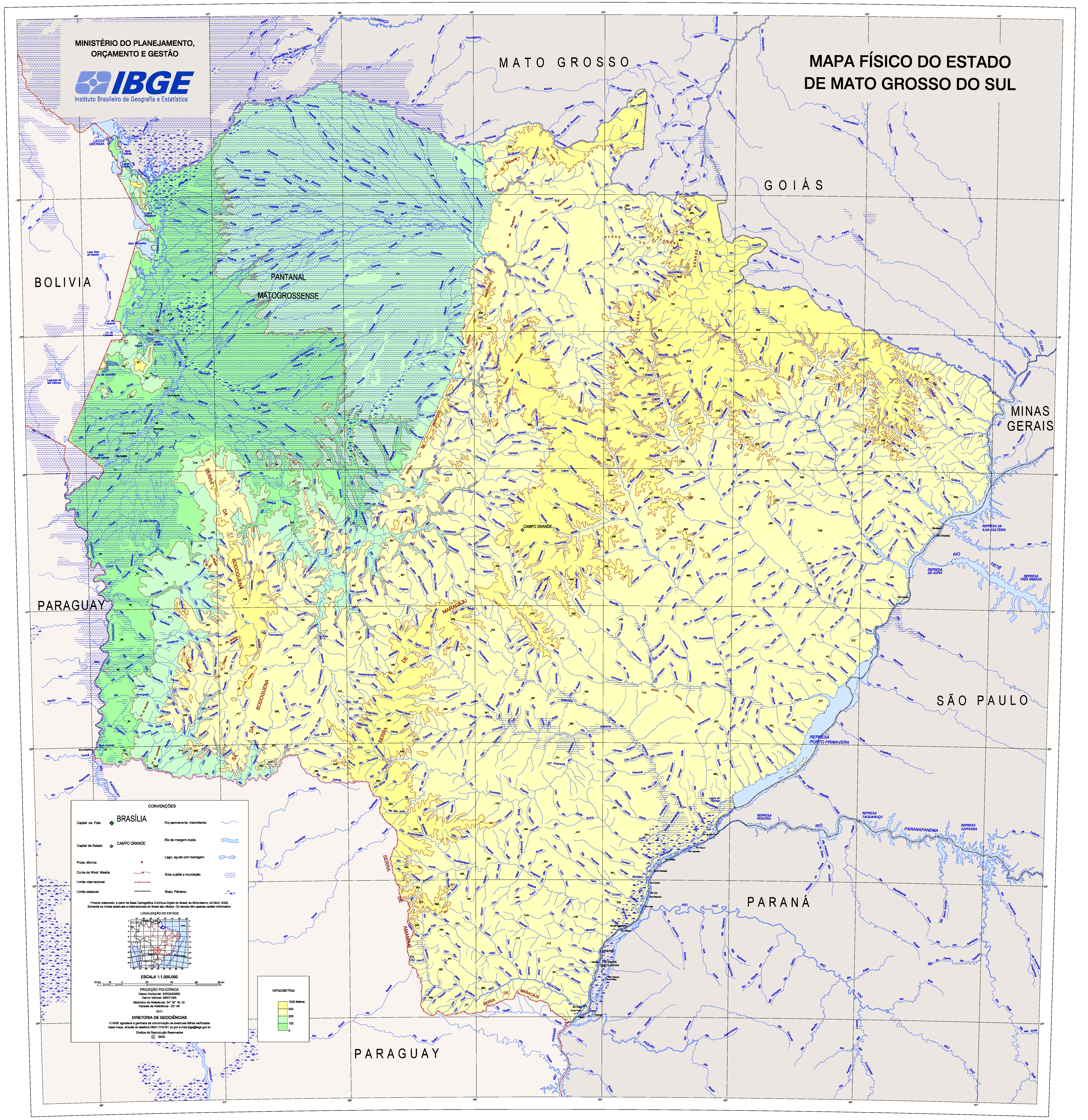 Capa da Mapa Físico do Estado de Mato Grosso do Sul