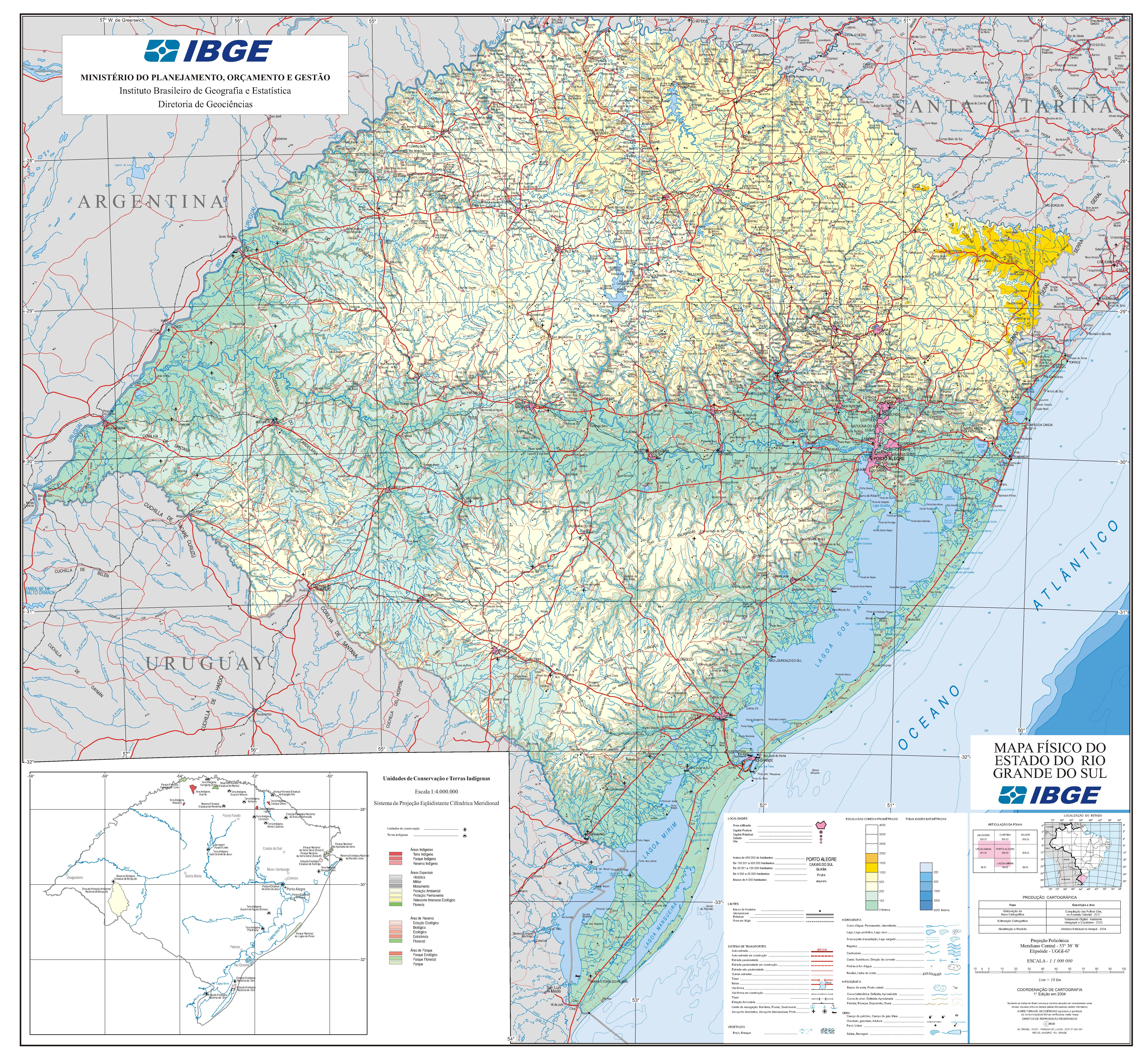 Rio Grande Mapa Fisico.Mapas E Cartografia Mapa Fisico Do Estado Do Rio Grande Do Sul
