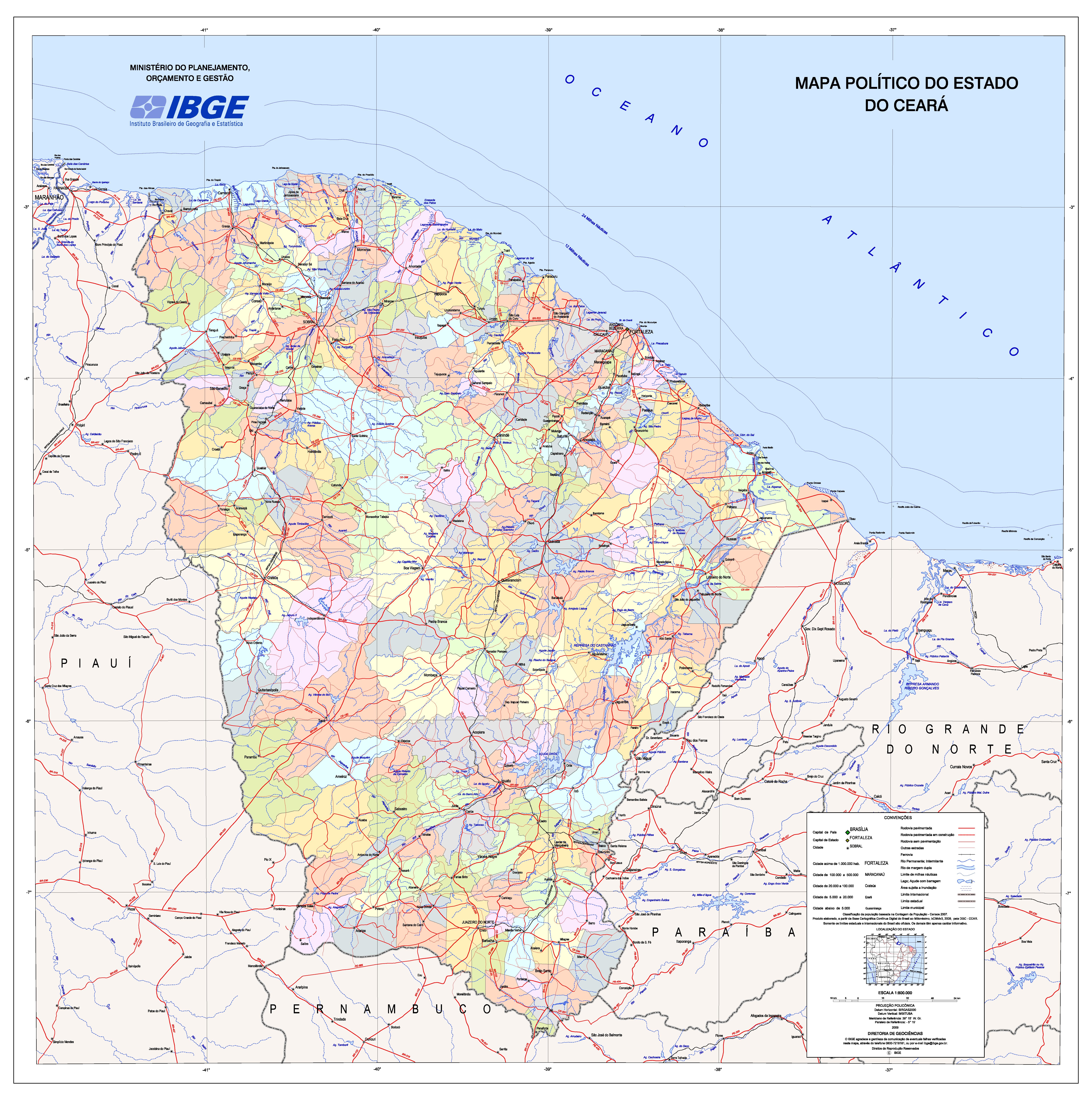 Mapas e Cartografia  Mapa Poltico do Estado do Cear
