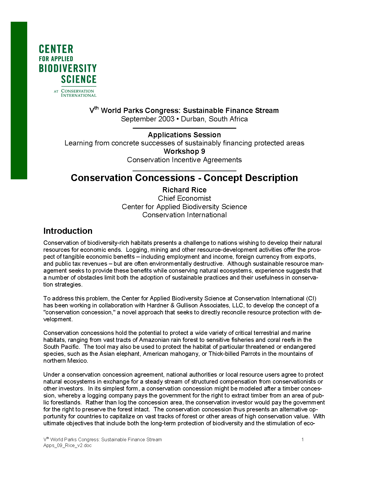 Capa da Conservation Concessions - Concept Description