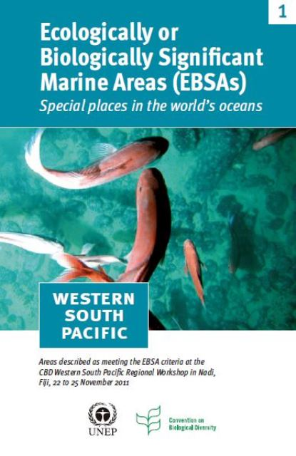 Capa da Ecologically or Biologically Significant Marine Areas (EBSAs). Special places in the world's oceans