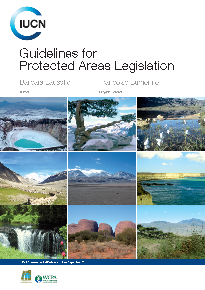 Capa da Guidelines for Protected Areas Legislation