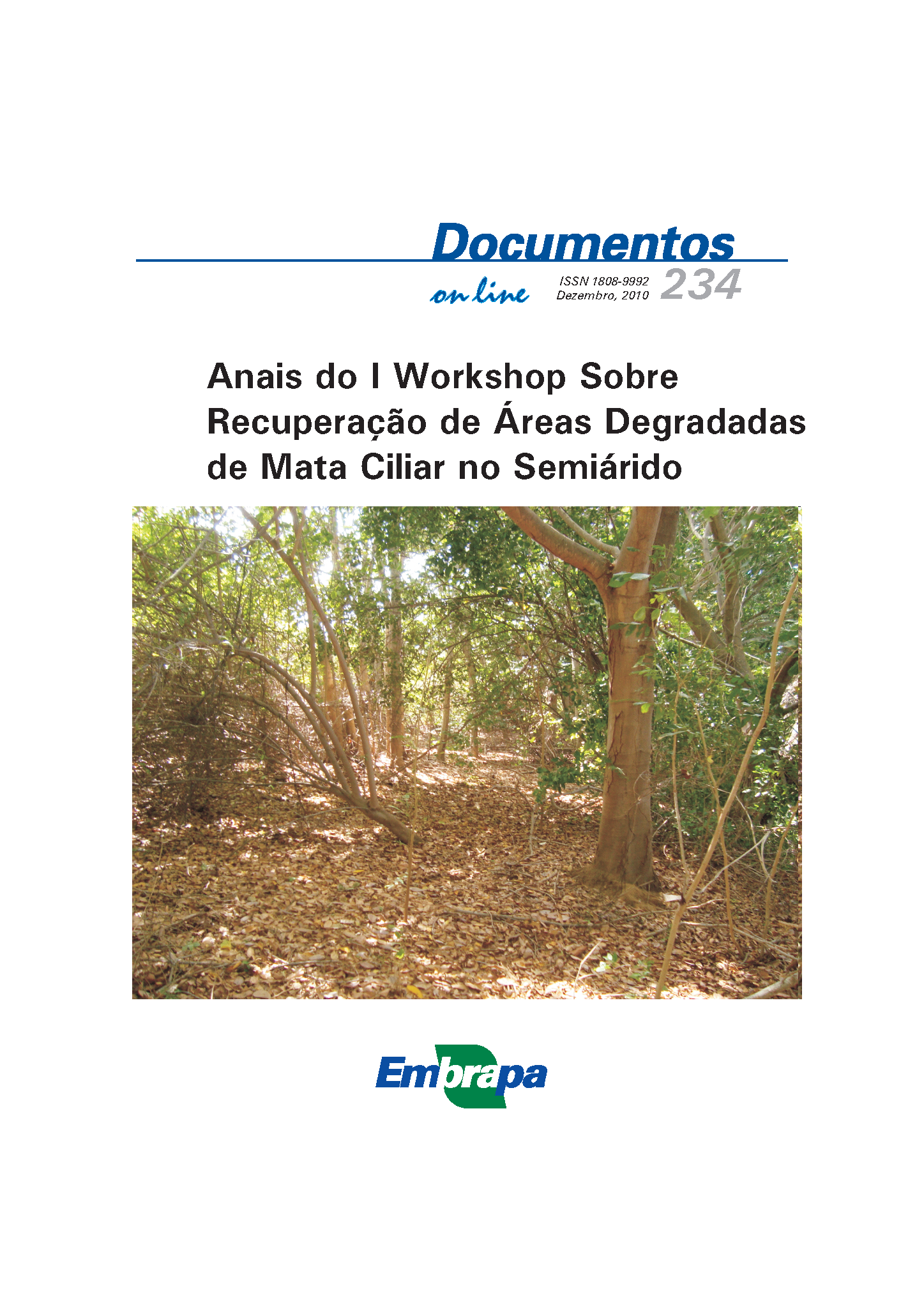 Capa da Anais do I Workshop sobre Recuperação de Áreas Degradadas de Mata Ciliar no Semiárido