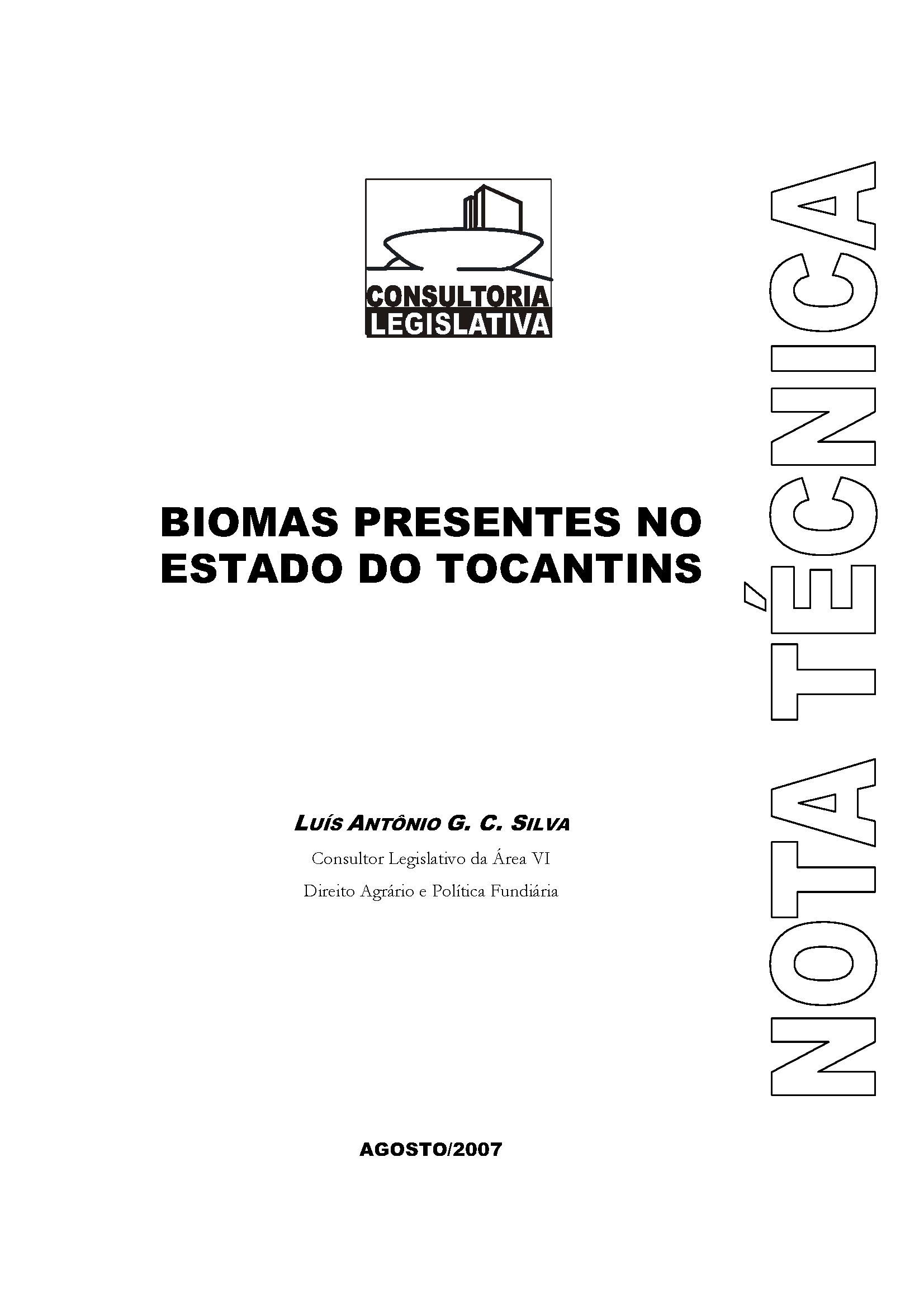 Capa da Biomas presentes no Estado do Tocantins
