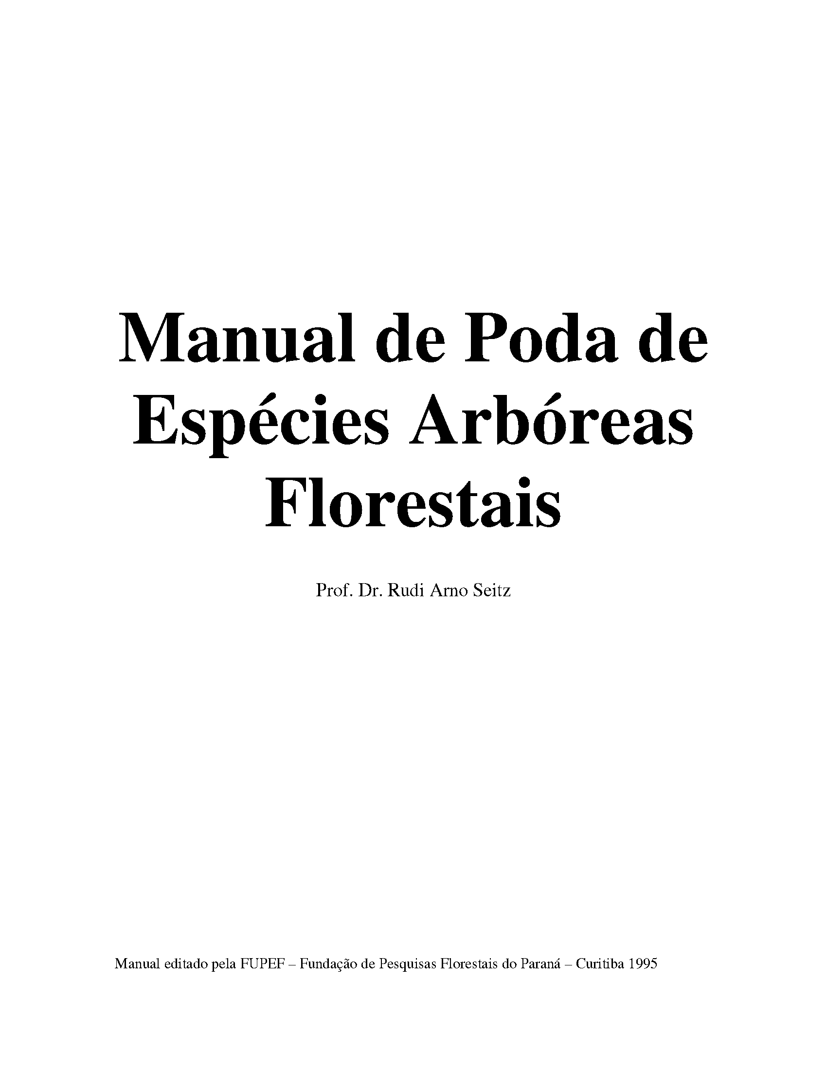 Capa da Manual de poda de espécies arbóreas florestais