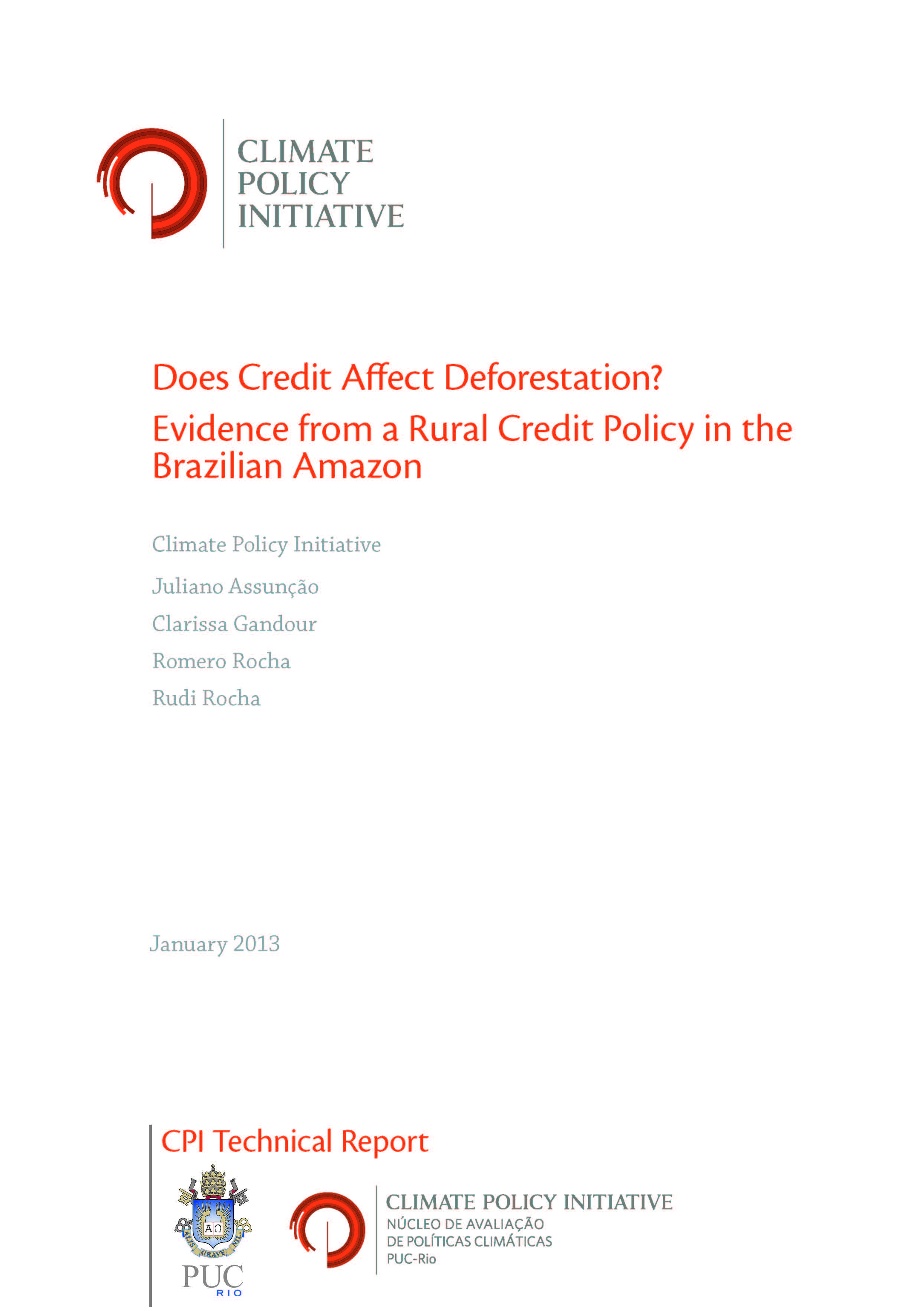 Capa da Does Credit Affect Deforestation? Evidence from a Rural Credit Policy in the Brazilian Amazon