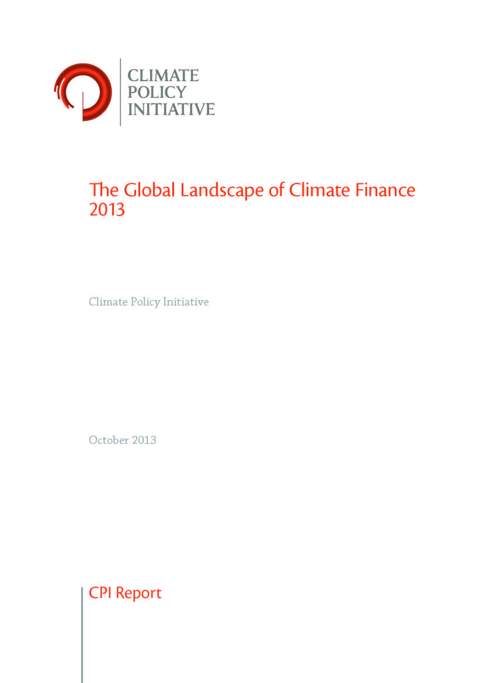 Capa da The global landscape of climate finance 2013